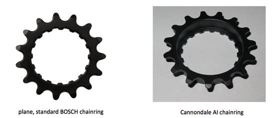 Das asymmetrische Kettenblatt ergibt mit dem 157 mm breiten Hinterbau eine für Cannondale optimale Kettenlinie.