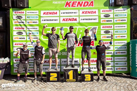 Das Podium der Kenda Enduro One in Aschau