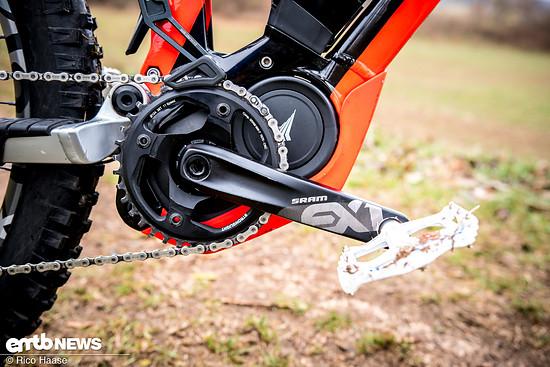 SRAM EX1 auf einem E-Mountainbike mit Yamaha-Motor