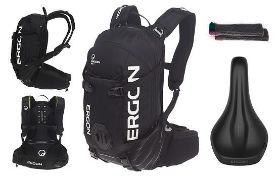 Ergon spendiert ein Set bestehend aus BA2 E-Protect Rucksack, SM E-Mountain Core Prime-Sattel, GE1 Evo Factory- Griffe im stylischen Oil Slick-Finish – Wert: ca. 310 €