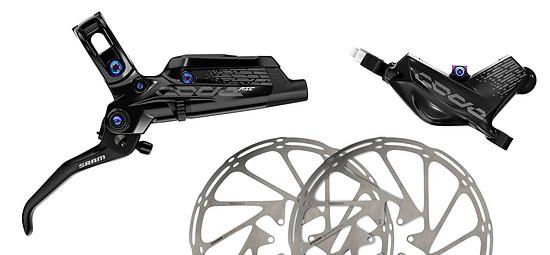 Bremsleistung satt! Mit diesem Set, bestehend aus SRAM Code RSC-Bremse und 220 mm großen Bremsscheiben, wird die Performance deines E-MTBs verbessert und dank Rainbow-Optik auch das Design cooler