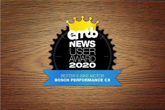 Bosch erntet den Lohn für seine Arbeit: der Bosch Performance CX der jüngsten Generation holt sich mit satten 35 % den Sieg und wird bester Motor 2020