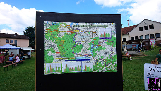 Streckenplan mit allen Distanzen zentral inmitten der Event-Area
